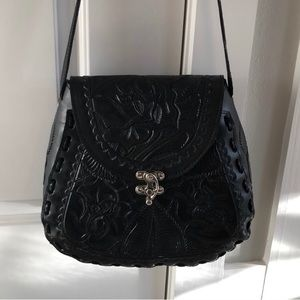 New beautiful black leather Mexican Tooled bag